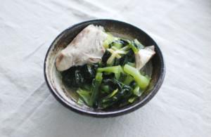 ぶりと青菜のしょうが蒸し