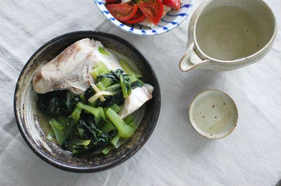 ぶりあらと青菜のしょうが蒸し献立