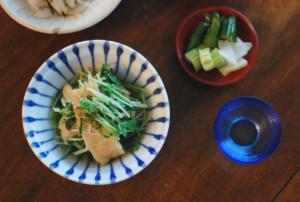 水菜と油揚げの煮浸し