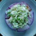 焼き紫大根ねぎ塩のせ、つるむらさきと豆腐の煮びたし献立。