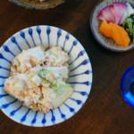 豆腐の明太子炒め、キャベツのおひたし献立。