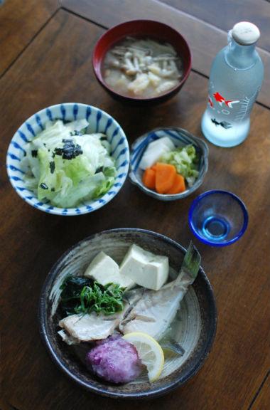 かわはぎと豆腐の酒蒸し献立