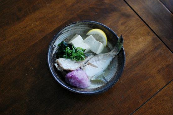 かわはぎと豆腐の酒蒸し