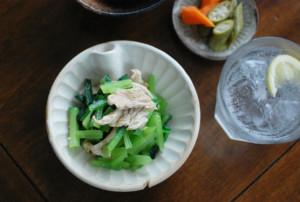青菜と豚肉のからし和え