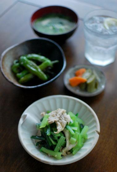 豚肉と青菜のからし和え献立