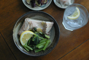ぶりと小松菜のしょうが蒸し献立