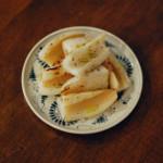 焼きれんこん、豆腐とわかめのサラダ献立。