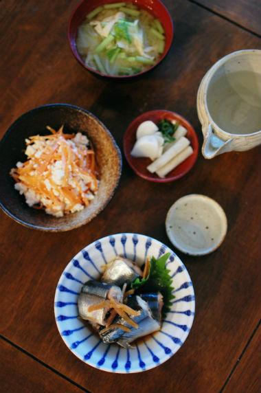 秋刀魚のしょうが煮献立