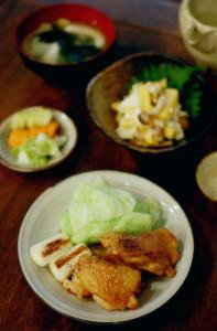 鶏のくわ焼き、柿としめじの白和え