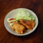 鶏のくわ焼き、柿としめじの白和え献立。