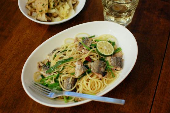 秋刀魚と小ねぎのスパゲティ