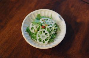 水菜とれんこんのサラダ