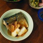 さばの味噌煮、豆腐と三つ葉のすまし汁献立。