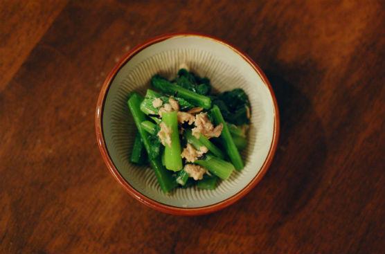 小松菜とツナの塩昆布和え
