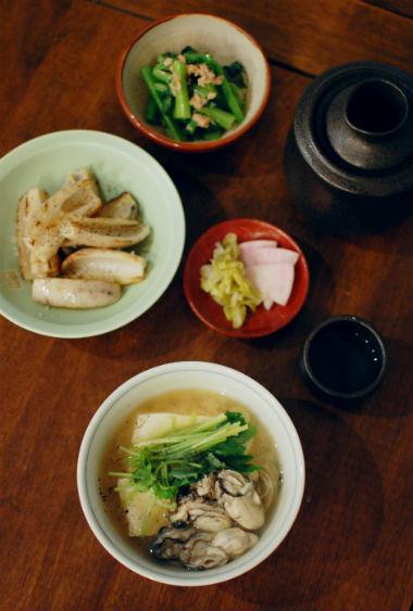 牡蠣豆腐、焼きれんこんで家飲み