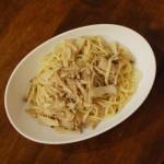 きのことぬか漬けのスパゲティ、白菜のサラダ献立。