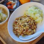 休肝日ごはん 納豆チャーハン、白菜の黒酢スープ献立。