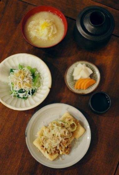 きつね納豆、小松菜のしらすおろし和え献立