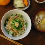 休肝日ごはん さば納豆丼献立。
