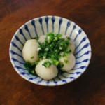 里芋のねぎ油炒め、春菊の白和え献立。