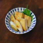 煎り焼き豆腐、春菊の酒粕味噌汁献立。