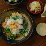 豚肉と水菜のおろし和え、三つ葉豆腐献立。