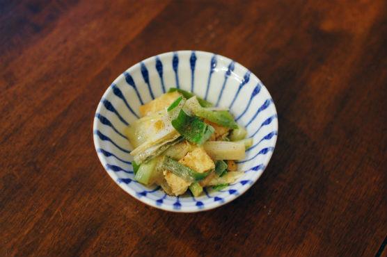 ねぎと揚げの味噌炒め