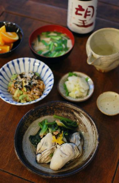 牡蠣とほうれんそうのゆず蒸し、アボカド納豆献立