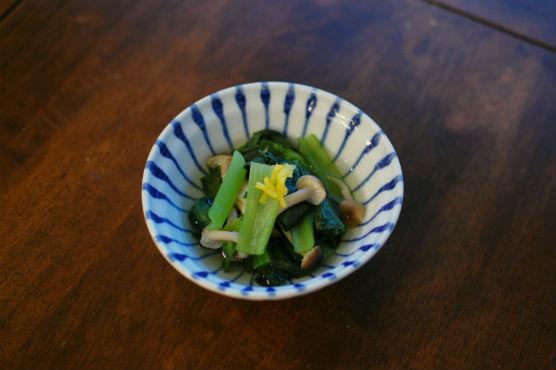 小松菜としめじのゆず煮びたし