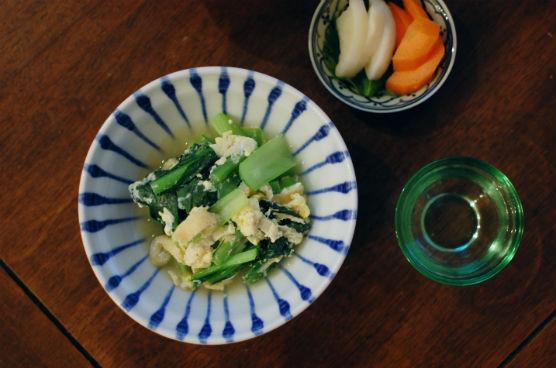 小松菜の卵とじ献立