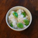 休肝日ごはん 釜揚げえび入りそら豆ごはん、水菜の味噌汁献立。