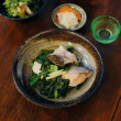 鮭と小松菜のオイル蒸し献立