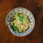 休肝日ごはん レタスチャーハン、ねぎのしょうゆスープ献立。
