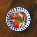 トマト豚しゃぶ、にんじんとツナのサラダ献立。