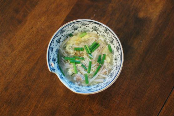 塩豚ときのこの黒酢スープ