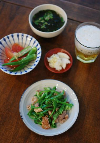 豚肉とピーマンの炒めもの、オクラとトマトの煮浸し献立
