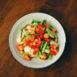 焼きかぶトマト和え、キャベツとしょうがのスープ献立。
