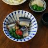 きのこと白菜の味噌汁 ぬか漬け 白菜サラダ さんま梅煮