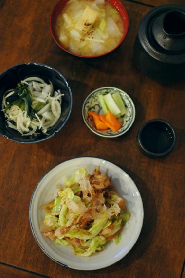 豚肉とキャベツのソース炒め、玉ねぎとわかめのサラダ献立