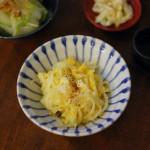 玉ねぎの卵炒め、塩豚と大根のスープ献立。