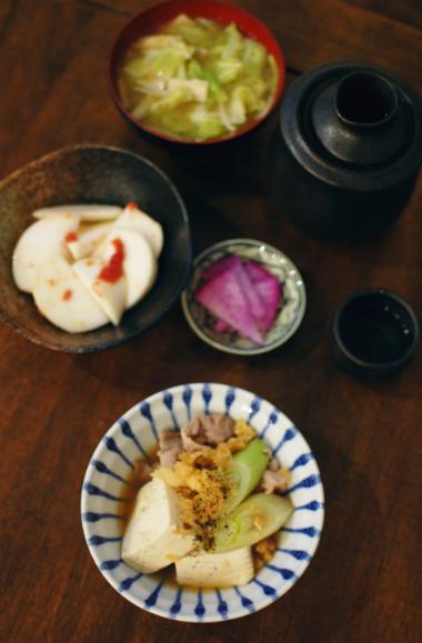 たぬき豆腐、かぶの梅わさび和え献立