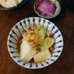 たぬき豆腐、かぶの梅わさび和え献立。