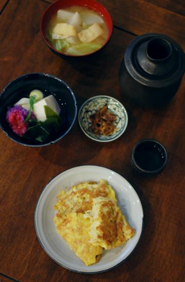 えのき卵焼き、湯豆腐献立。
