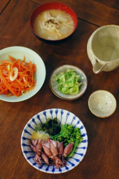 ホタルイカと菜の花の酢味噌和え献立