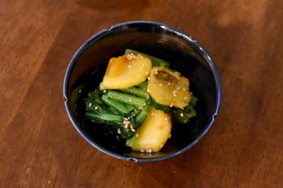 柿と小松菜のごま酢和え
