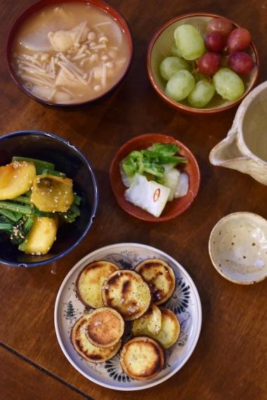 焼きさつまいも、柿と小松菜のごま酢和え献立
