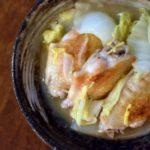柚子手羽白菜、もずく納豆献立。