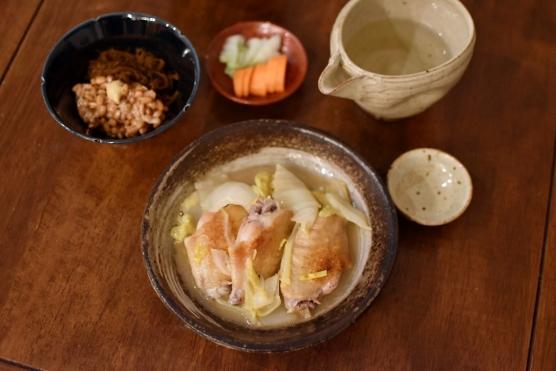 柚子手羽白菜献立