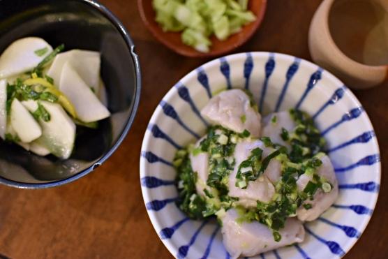 里芋のねぎ塩炒め、かぶのサラダゆず風味献立
