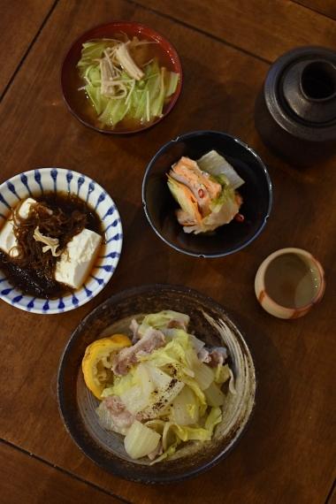 もずく豆腐、豚肉と白菜のゆず蒸し献立。